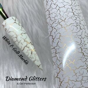 Nail Transfer Foil 1m Marble Full Coverage Nail Art White & Gold Marble