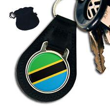 TANZANIA FLAG  LEATHER KEYRING / KEYFOB GIFT