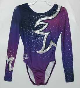 Amethyst Girls Long Sleeve Gymnastics Leotard Lycra/Mesh Crystals