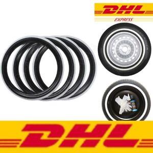 "Classic Oldtimer 13"" Black&White Wall Portawall Tire insert trim set x4"