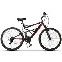 26'' Mountain Bike Hybrid Bike 18 Speed Full Suspension Bicycles Shimano Black