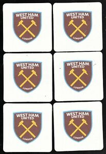 WEST HAM UNITED F.C. Pack of Official Beer Mats / Coaster FREE POST UK New Crest