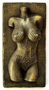 Viking Norse Female Valkyrie Nude Tattoo Raven Mjolnir Brass Wall Mount Art Work