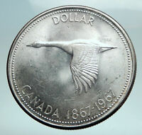 1967 CANADA CANADIAN Confederation Founding with Goose Silver Dollar Coin i82487