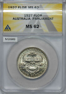 Australia 1927 Florin ANACS MS 62 Parliament NG0989 combine