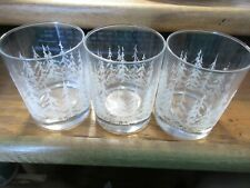 3 Libbey Frosty Snowy Pines Glasses DOF Double Old Fashioned Textured Trees