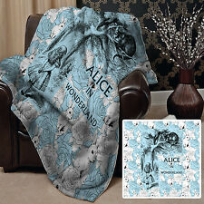 Large Warm Sofa Fleece Throw - Alice In Wonderland Print Soft Bed Blanket Chair