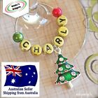 Christmas Wine Glass Charm Personalised/Any Name - festive table decoration