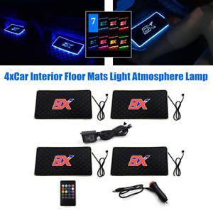 4x12V LED Car Floor Mats Light Pad Atmosphere Decor Lamp 7 Colors Voice Control