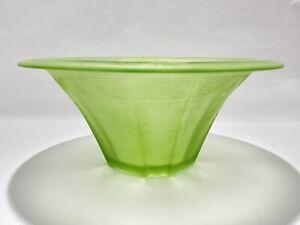 Uranium Vaseline Glass Princess Serving Fluted Bowl Green Etching w/ Flowers