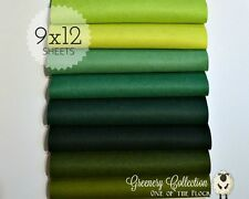 "Greenery Felt Fabric Collection, Merino Wool Blend Felt, Eight 9"" X 12"" Sheets"