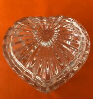 Beautiful Vintage Heart Shaped Cut Glass Crystal Jewelry or Trinket Box