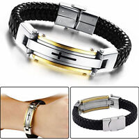 Für Herren Stainless Steel Kreuz Schwarz Geflochtenes Lederarmband Armband