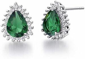 White gold finish pearcut green emerald stud created diamond earrings giftbox