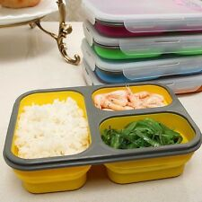 Silicone Lunch Box Collapsible Food Storage School Work Picnic Camping Random