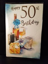 Large quality Male 50th birthday card lovely colours and verse