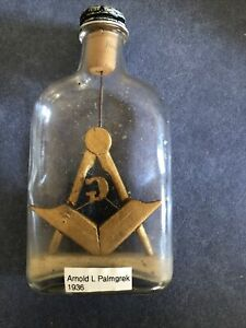 Antique American  Masonic Whimsey Bottle, Circa 1936 By Arnold Palmgrek