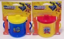 2 New DC Super Friends Handled Sippy Cups 1ea Superman Batman Spill Proof 7oz.