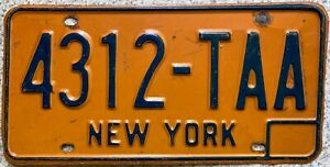 New York 1970's American License USA Licence Number Plate 4312 TAA