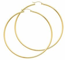 Hoop Earrings 14k Solid Yellow Gold Lightweight Small Classic Hoops 0.8 Inch