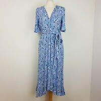 Per Una Midi Dress UK 12 Light Blue Floral Tie Waist Wrap Style Flare