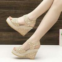 Ladies Womens High Heel Wedge Ankle Strap Platform Open Toe Sandals Summer Shoes
