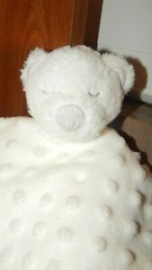 Blankets and Beyond White Bear Lovey Baby Minky Security Blanket Raised Dots
