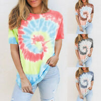 Women Tie-dye Printed Short Sleeve O-Neck Casual Tops T-shirt Summer Blouse Ceng
