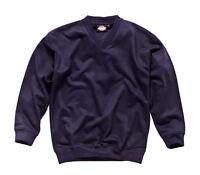 Dickies Mens V-Neck Sweat Shirt Navy Blue Various Size SH11150