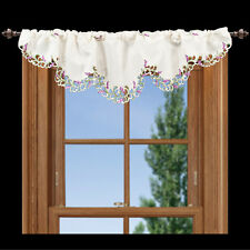 """Embroidered Lavender or Lilacs Green Leaves on White 14"""" X 54"""" Window Valance"""