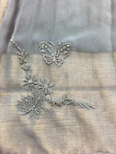 Womens Shawl Scarf Neck Shoulder Wrap Black Sheer Butterfly Embroidered Dressy