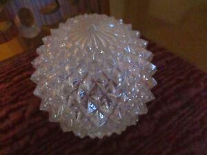 Vintage Clear Glass Ceiling Light Fixture Diamond Cut Round Ball Globe