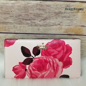 NWT Kate Spade New York Stacy Cameron Street Roses Slim Bifold Wallet Pink Sand