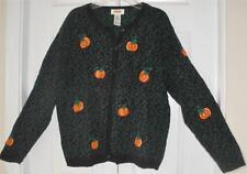Talbots Womens Petites Black Green Orange Pumpkin Harvest Ugly Sweater Sz Small