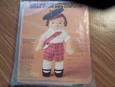 NIP Vintage 1980 Campbell Kid Boy Doll Kit  w Red Plaid Shorts*Green Tam