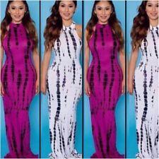Women's Full Length Tye Dye Open Back Maxi Dress Size S (Magenta)