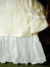 """Soft Surroundings Balloon Bedskirt White Queen  16"""" Drop"""