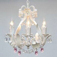 WHITE IRON CRYSTAL FLOWER CHANDELIER LIGHTING W/ PINK CRYSTAL HEARTS!