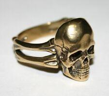 Solid Bronze Skull Bones Biker Ring size 9,11