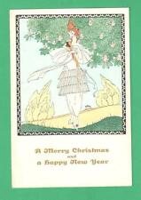 VINTAGE MELA KOEHLER ART DECO CHRISTMAS/NEW YEAR POSTCARD BEAUTIFUL LADY TREE