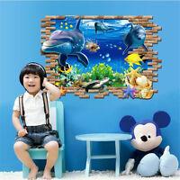 3D Dolphin Wall Art Sticker Decal Decor Bathroom Sea Ocean Mural