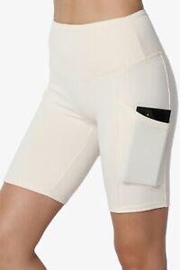 TheMogan S~3X Brushed Microfiber Tummy Control Side Pocket Biker Short Leggings