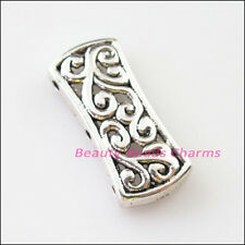 4Pcs Tibetan Silver 3-3 Hole Flower Spacer Bar Beads Connectors Charms 12x26.5mm