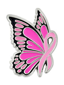 PinMart's Breast Cancer Awareness Butterfly Pink Ribbon Enamel Lapel Pin
