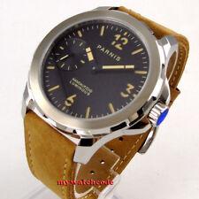 44mm parnis black dial orange marks Sapphire glass 6497 hand Winding mens watch