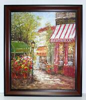 Paris Street Scene Bistro 20 x 24 Oil Painting on Canvas w/ Custom Frame
