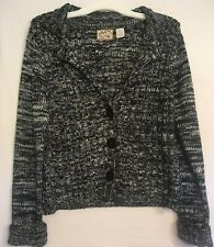 Heirloom Collectibles Knit 3 Button Front Sweater Grey Black White Women's XL