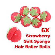 6Pcs Strawberry Foam Strawberry Balls Soft Sponge Hair Curlers Rollers Bun Tool