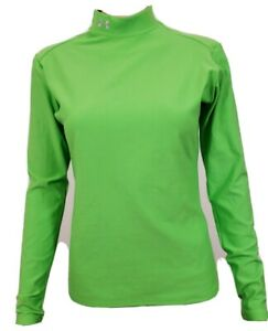 Under Armour Women's UA Coldgear Top L Green Mock Neck Long Sleeve