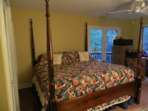 King size Rice bed, triple dresser,night stand
